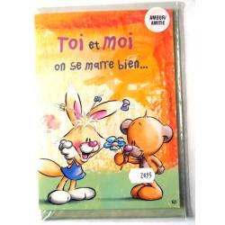 Carte postale double avec enveloppe fêtes saint Valentin amoureux amour amitié DIDDL neuve