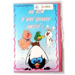 Carte postale double avec enveloppe fêtes amitié humour Caliméro neuve