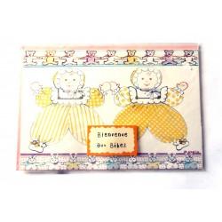 Carte postale neuve avec enveloppe naissance jumeaux baptême félicitation (02.04)