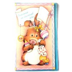 Carte postale neuve avec enveloppe naissance baptême félicitation (02.05)