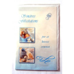 Carte postale neuve avec enveloppe naissance baptême félicitation (05.03)