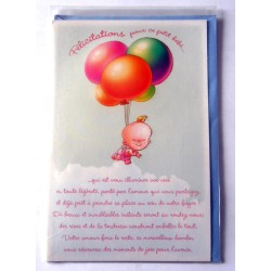 Carte postale neuve avec enveloppe naissance baptême félicitation (lot 10.08)