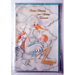 Carte postale neuve avec enveloppe naissance baptême félicitation (lot 10.09)