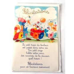 Carte postale neuve avec enveloppe naissance baptême félicitation (lot 10.11)