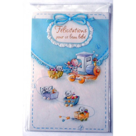 Carte postale neuve avec enveloppe naissance baptême félicitation (11.01) - Amzalan.com