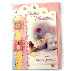 Carte postale neuve avec enveloppe naissance baptême félicitation (lot 11.04)