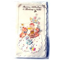 Carte postale neuve avec enveloppe naissance baptême félicitation (lot 11.19)