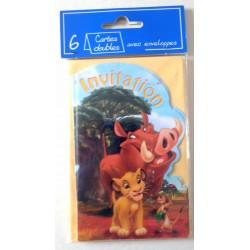 Lot de 6 faire parts invitation fête Anniversaire enfant Disney le roi lion (13.02) neuf