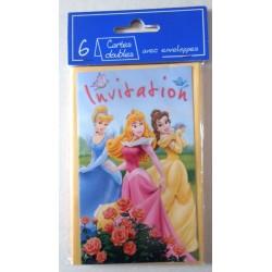 Lot de 6 faire parts invitation fête Anniversaire enfant Disney princesse ( 13.03) neuf