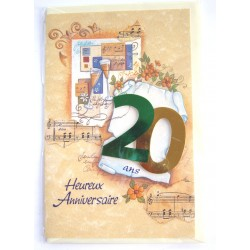 Carte postale neuve avec enveloppe joyeux anniversaire 20 ans ( lot 77.08)