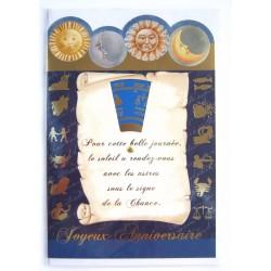 Carte postale neuve avec enveloppe joyeux anniversaire astrologie ( lot 77.09)