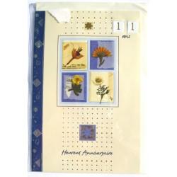 Carte postale neuve avec enveloppe joyeux anniversaire multi ages floral ( lot 78.05)