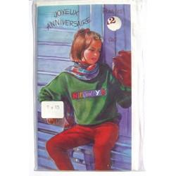 Carte postale neuve avec enveloppe joyeux anniversaire enfant multi ages ( lot 79.02)