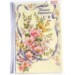 Carte postale neuve avec enveloppe joyeux anniversaire floral multi ages ( lot 79.04)