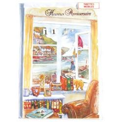 Carte postale neuve avec enveloppe joyeux anniversaire multi ages ( lot 79.07)
