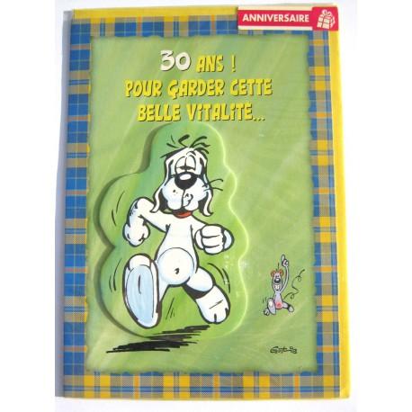 Carte postale neuve avec enveloppe joyeux anniversaire gai luron multi ages ( lot 79.09)