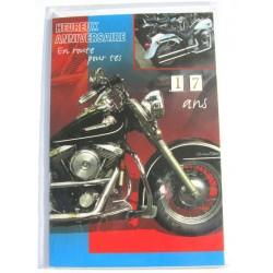 Carte postale neuve avec enveloppe joyeux anniversaire moto multi ages ( lot 79.10)