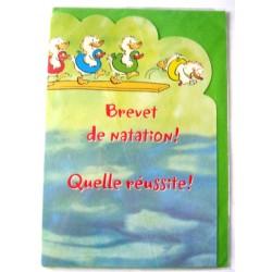 Carte postale neuve avec enveloppe félicitation BREVET DE NATATION ( lot 37.04)