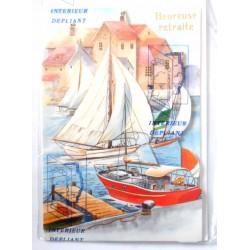 Carte postale neuve avec enveloppe retraite départ bateaux dépliante (10.02)