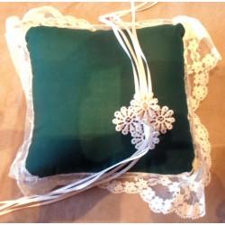 Coussins mariage alliance vert tissus dentelles fleurs blanche/jaune 14 x 14 cm