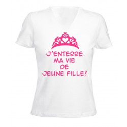 TRANSFERT TEXTILE VETEMENT T-SHIRT FEMME MARIAGE - ENTERREMENT VIE DE JEUNE FILLE - V1