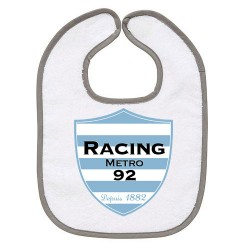 TRANSFERT TEXTILE BAVOIR BEBE SUPPORTER RUGBY Racing Metro 92 V36 IDEE CADEAU NAISSANCE NEUF