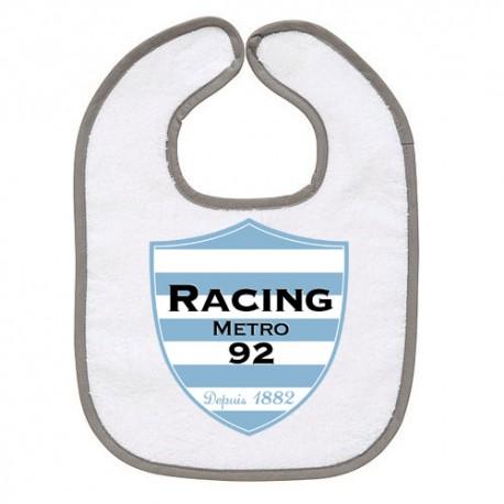 TRANSFERT TEXTILE BAVOIR BEBE SUPPORTER RUGBY Racing Metro 92 V36 IDEE CADEAU NAISSANCE NEUF