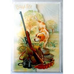 Carte postale neuve avec enveloppe bonne fête chasse chasseur (lot 27.05)