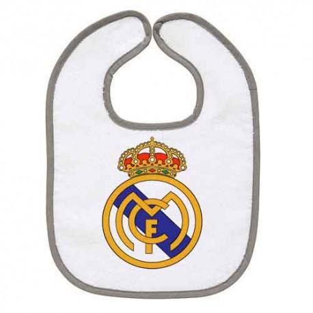 TRANSFERT TEXTILE BAVOIR BEBE SUPPORTER FOOT Real de Madrid V42 IDEE CADEAU NAISSANCE NEUF