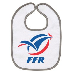 TRANSFERT TEXTILE BAVOIR BEBE SUPPORTER RUGBY FFR V44 IDEE CADEAU NAISSANCE NEUF