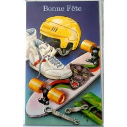 Carte postale neuve avec enveloppe bonne fête skateboard (lot 06.04)