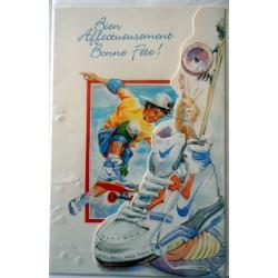 Carte postale neuve avec enveloppe bonne fête skateboard (lot 06.06)