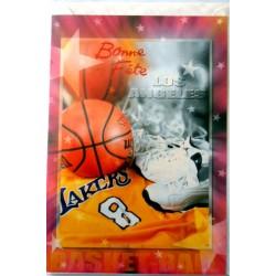 Carte postale neuve avec enveloppe bonne fête sport basket (lot 06.07)