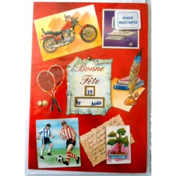 Carte postale neuve avec enveloppe bonne fête moto multi dates (lot 06.09)