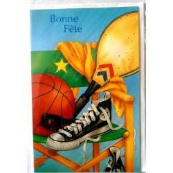Carte postale neuve avec enveloppe bonne fête basket (lot 07.02)