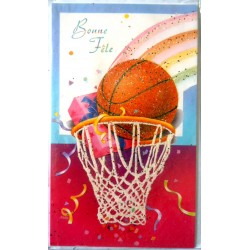 Carte postale neuve avec enveloppe bonne fête basket (lot 07.06)