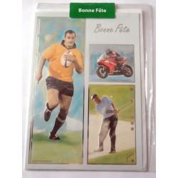 Carte postale neuve avec enveloppe bonne fête rugby (21.03)