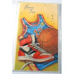 Carte postale neuve avec enveloppe bonne fête sport basket (22.02)