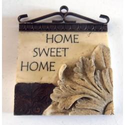 PLAQUE MURALE FER FORGE DÉCO PORTE CUISINE RELIEF 3 D 9.5 X 11.5 CM RÉSINE CITATIONS HOME SWEET HOME ... NEUF CADEAUX