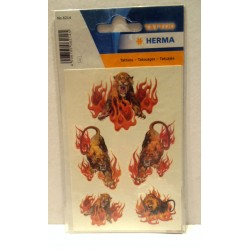Planche de tatouages tatoo motifs tigre flamme - Produit neuf
