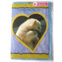 Carte postale neuve avec enveloppe sentiments amoureux saint valentin tu me manques (lot 10.03)