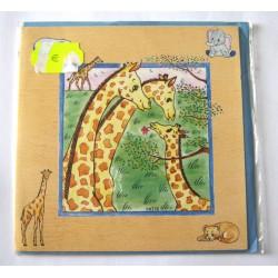 Carte postale neuve avec enveloppe enfant carrée déco girafe (13.01)