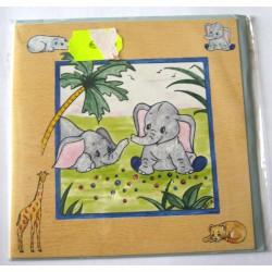 Carte postale neuve avec enveloppe enfant carrée déco éléphant (13.02)