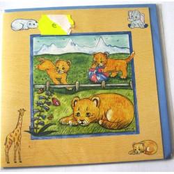 Carte postale neuve avec enveloppe enfant carrée déco lion (13.03)