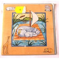 Carte postale neuve avec enveloppe enfant carrée déco hippopotame (13.04)