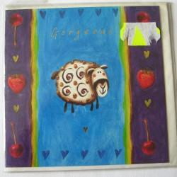 Carte postale neuve avec enveloppe enfant carrée déco mouton (14.06)