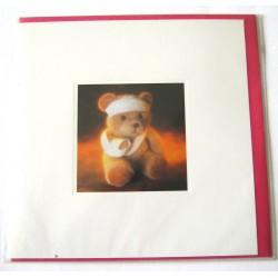 Carte postale neuve avec enveloppe enfant carrée déco ourson (14.09)