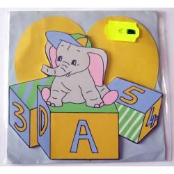 Carte avec enveloppe décor de chambre bois enfant motif éléphant (lot 17.01)