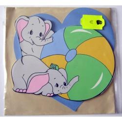 Carte avec enveloppe décor de chambre bois enfant motif éléphant (lot 17.02)