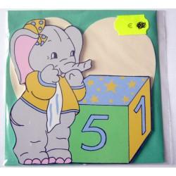Carte avec enveloppe décor de chambre bois enfant motif éléphant (lot 17.03)